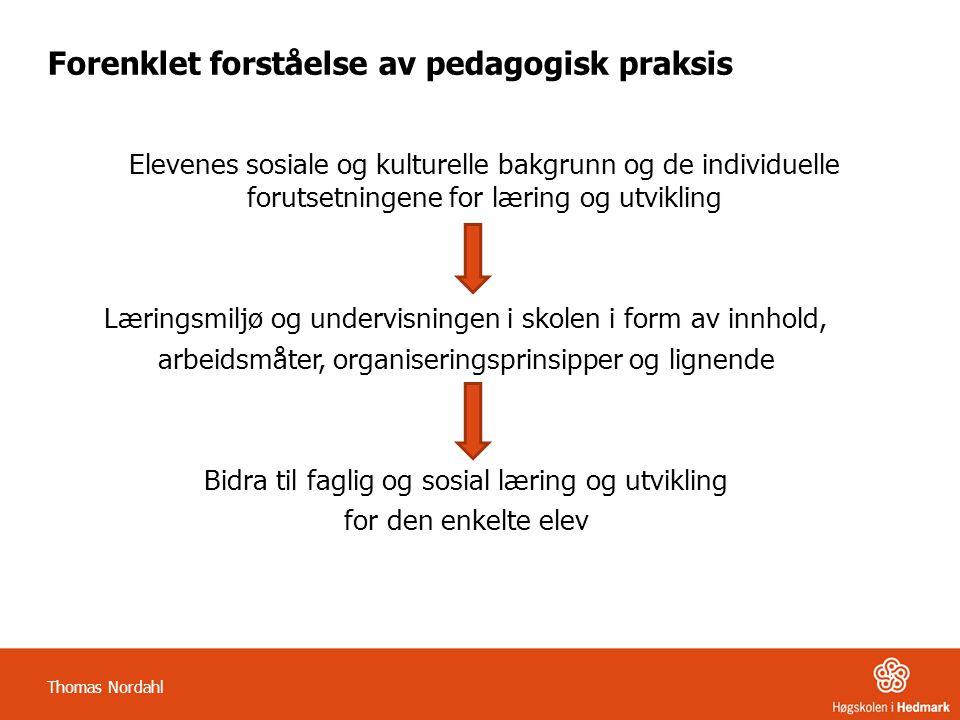 Forenklet forståelse av pedagogisk praksis Elevenes sosiale og kulturelle bakgrunn og de individuelle forutsetningene for læring og utvikling Læringsm
