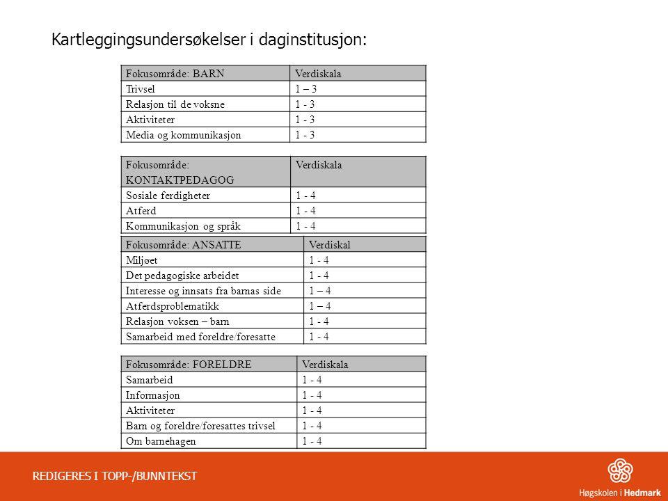 REDIGERES I TOPP-/BUNNTEKST Fokusområde: BARNVerdiskala Trivsel1 – 3 Relasjon til de voksne1 - 3 Aktiviteter1 - 3 Media og kommunikasjon1 - 3 Fokusomr