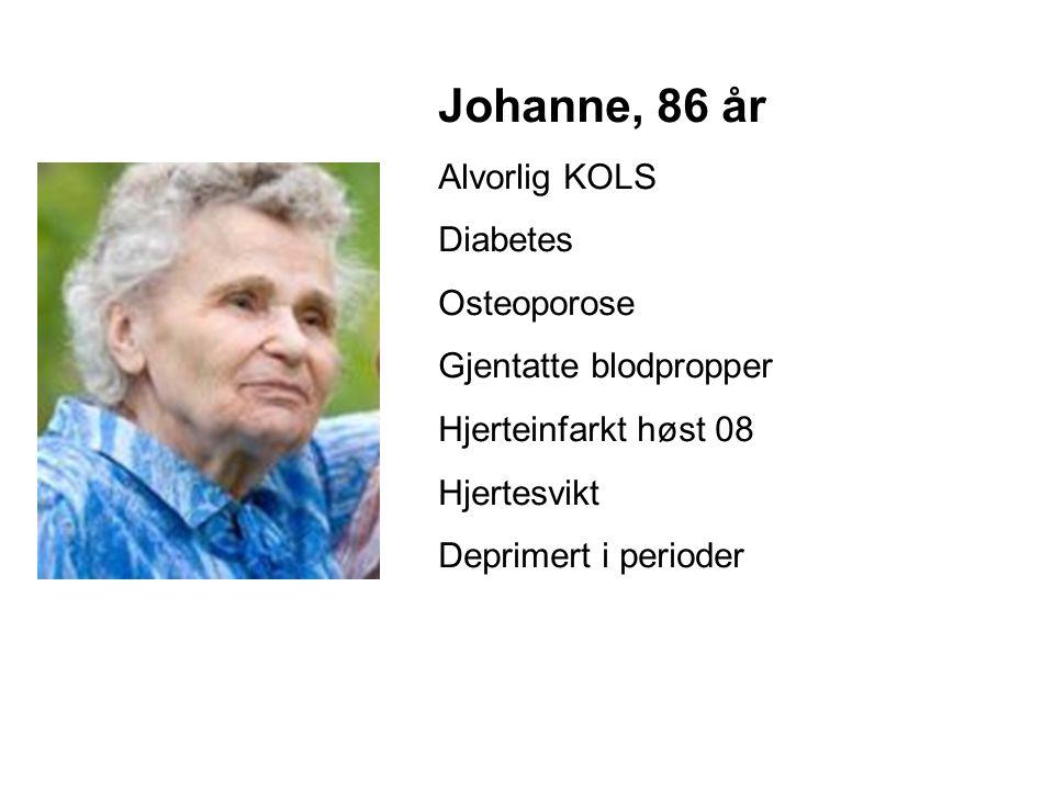 Johanne, 86 år Alvorlig KOLS Diabetes Osteoporose Gjentatte blodpropper Hjerteinfarkt høst 08 Hjertesvikt Deprimert i perioder