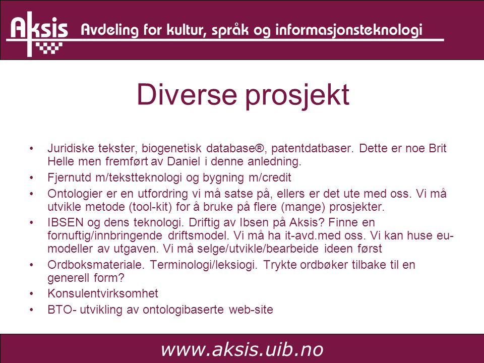 www.aksis.uib.no Diverse prosjekt Juridiske tekster, biogenetisk database®, patentdatbaser. Dette er noe Brit Helle men fremført av Daniel i denne anl