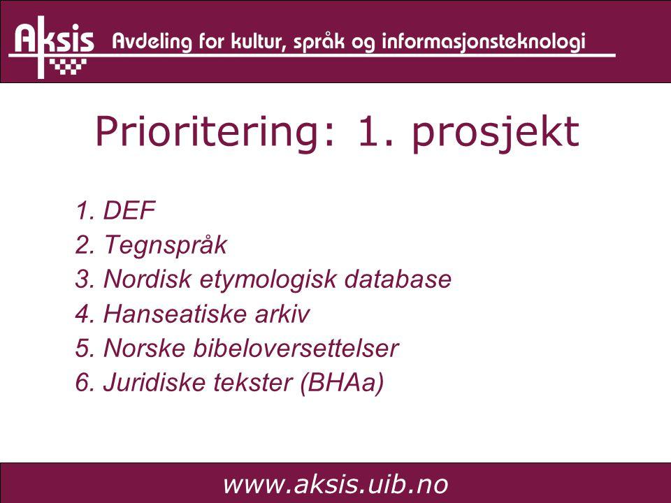 www.aksis.uib.no Prioritering: 1. prosjekt 1. DEF 2. Tegnspråk 3. Nordisk etymologisk database 4. Hanseatiske arkiv 5. Norske bibeloversettelser 6. Ju