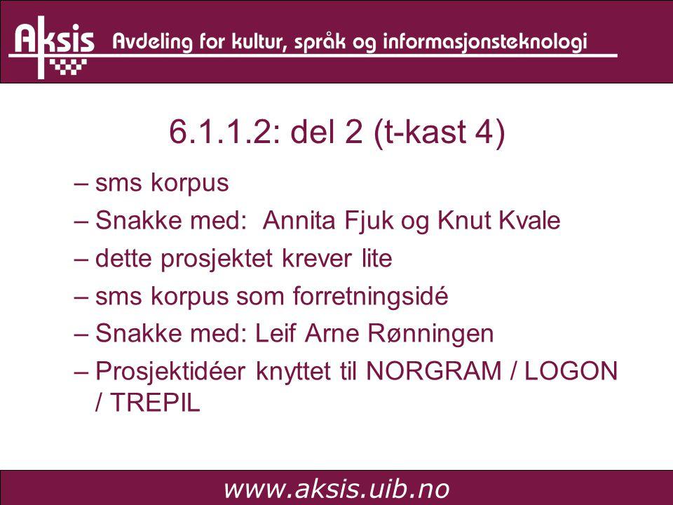 www.aksis.uib.no 6.1.1.2: del 2 (t-kast 4) –sms korpus –Snakke med: Annita Fjuk og Knut Kvale –dette prosjektet krever lite –sms korpus som forretningsidé –Snakke med: Leif Arne Rønningen –Prosjektidéer knyttet til NORGRAM / LOGON / TREPIL