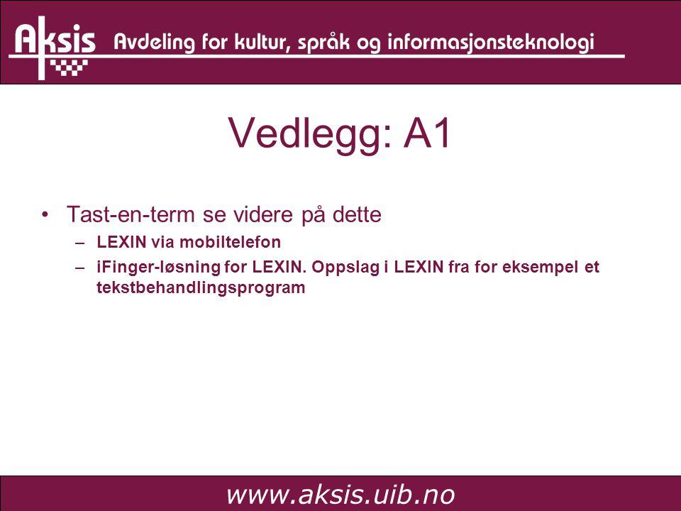 www.aksis.uib.no Vedlegg: A1 Tast-en-term se videre på dette –LEXIN via mobiltelefon –iFinger-løsning for LEXIN. Oppslag i LEXIN fra for eksempel et t