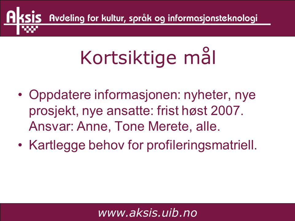 www.aksis.uib.no Kortsiktige mål Oppdatere informasjonen: nyheter, nye prosjekt, nye ansatte: frist høst 2007. Ansvar: Anne, Tone Merete, alle. Kartle