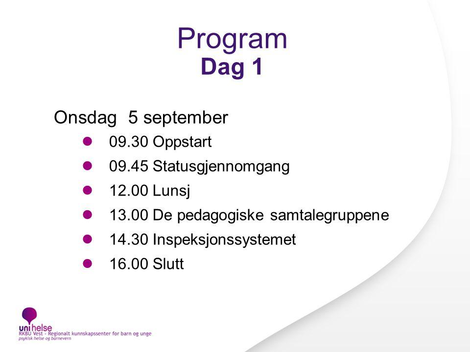 Program Dag 1 Onsdag 5 september 09.30 Oppstart 09.45 Statusgjennomgang 12.00 Lunsj 13.00 De pedagogiske samtalegruppene 14.30 Inspeksjonssystemet 16.