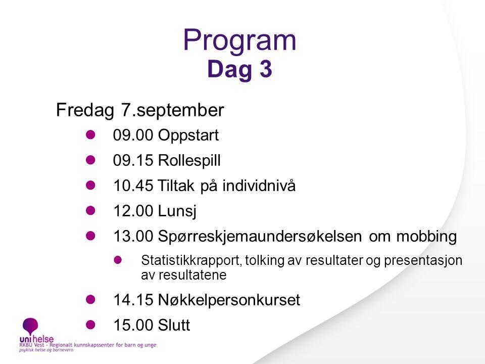 Program Dag 3 Fredag 7.september 09.00 Oppstart 09.15 Rollespill 10.45 Tiltak på individnivå 12.00 Lunsj 13.00 Spørreskjemaundersøkelsen om mobbing St
