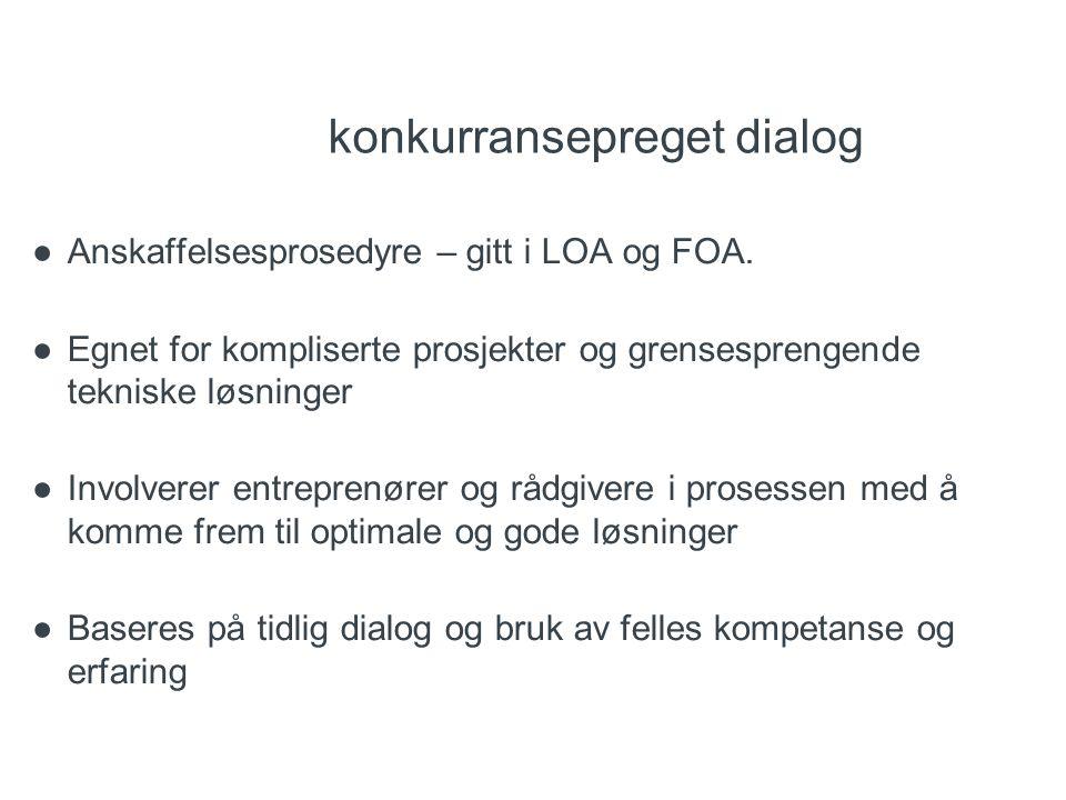 konkurransepreget dialog ●Anskaffelsesprosedyre – gitt i LOA og FOA. ●Egnet for kompliserte prosjekter og grensesprengende tekniske løsninger ●Involve