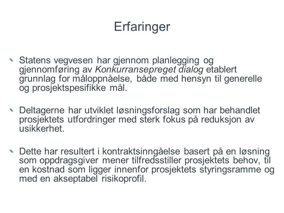 Erfaringer Statens vegvesen har gjennom planlegging og gjennomføring av Konkurransepreget dialog etablert grunnlag for måloppnåelse, både med hensyn t