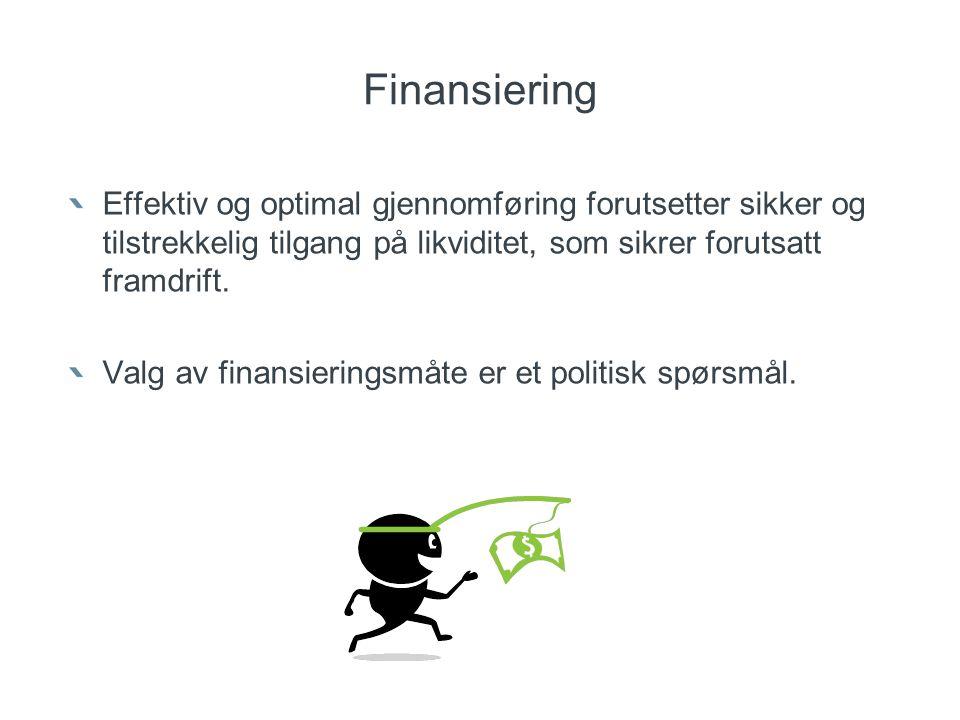 Finansiering Effektiv og optimal gjennomføring forutsetter sikker og tilstrekkelig tilgang på likviditet, som sikrer forutsatt framdrift. Valg av fina