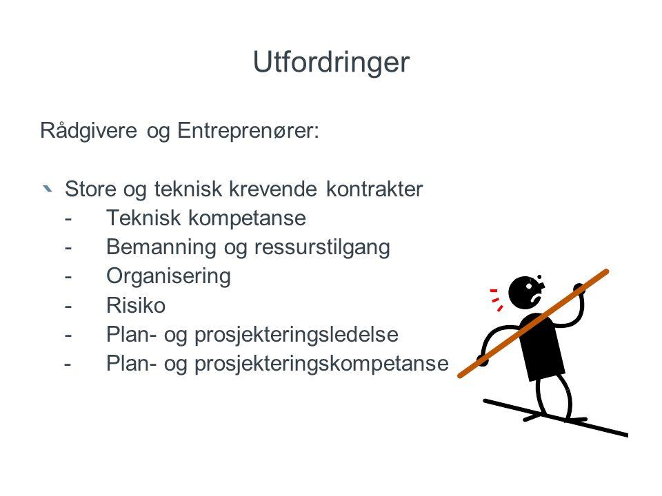 Utfordringer Rådgivere og Entreprenører: Store og teknisk krevende kontrakter -Teknisk kompetanse -Bemanning og ressurstilgang -Organisering -Risiko -