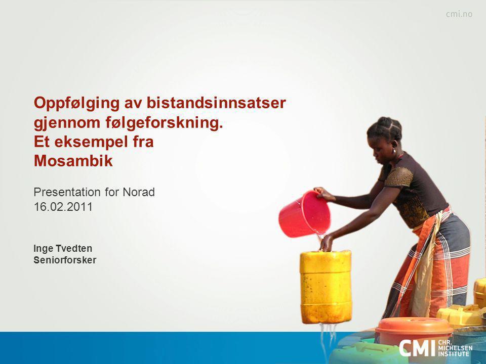 Introduksjon Fokuset på bistandens resultater stadig sterkere Mer komplisert med endret bistandsarkitektur Problemer knyttet til attribusjon (makro-mikro) Mosambik: Økonomisk vekst/ingen fattigdomsreduksjon
