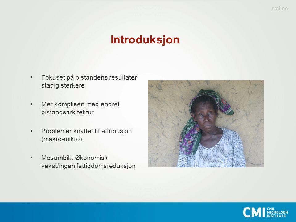 Følgeforskning Monitorering av Mosambiks fattigdomsstrategi 2006- 2011(MPD/DfID) + Sidas Reality Check 2011-2016 Informere prosessen og måle resultater Nasjonale utviklingstrekk / tre ulike distrikter i Mosambik Kombinasjon kvantitative/ kvalitative data (panel) Endringer i fattigdommens utbredelse og dynamikk