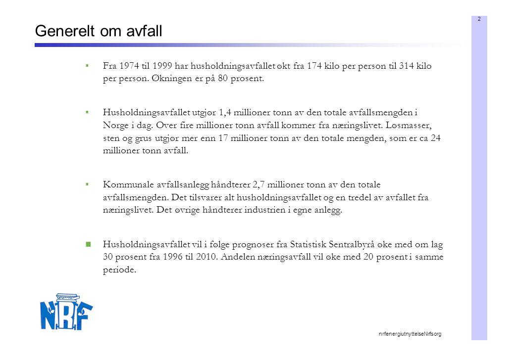 2 nrfenergiutnyttelseNrfsorg Generelt om avfall  Fra 1974 til 1999 har husholdningsavfallet økt fra 174 kilo per person til 314 kilo per person.