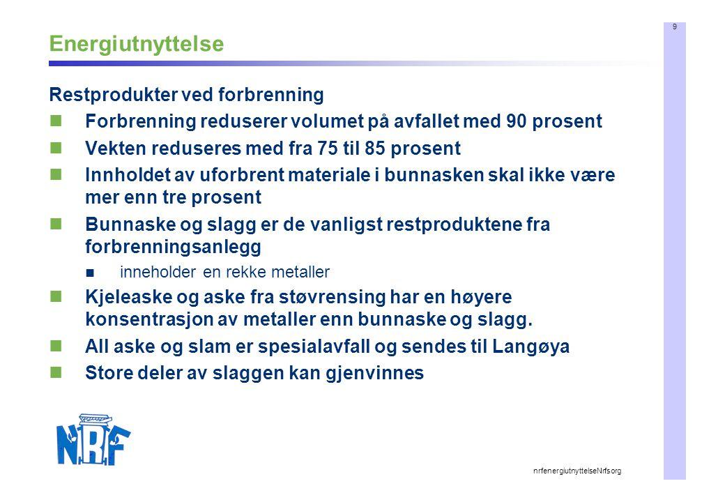 10 nrfenergiutnyttelseNrfsorg Miljøregnskapet ved forbrenning All forbrenning gir utslipp av ulike stoffer Utslippene kan påvirkes Forbrenningsanlegget er også en del av et totalt miljøregnskap (nasjonalt og ikke minst lokalt) Strenge regler: EU Forbrenningsdirektiv Søknader behandles hos Fylkesmannens miljøvernavdeling Gis konsesjonsvilkår Dramatisk reduksjon i utslipp fra avfallsforbrenning