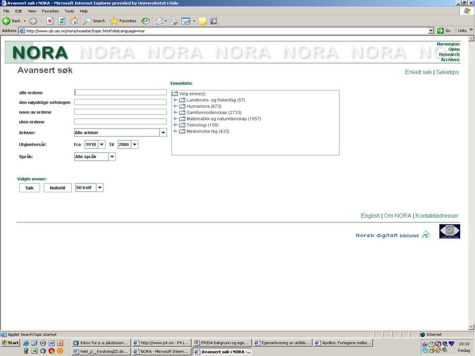 Internasjonale søketjenester De lokale åpne institusjonelle arkivene, som støtter den internasjonale standarden Open Archives Initiative - Protocol for Metadata Harvesting (OAI- PMH), høstes også av internasjonale søketjenester Den største søketjenesten er OAIster (http://oaister.umdl.umich.edu/o/oaister/) som omfatter 11.682.009 referanser fra 777 åpne institusjonelle arkiv.