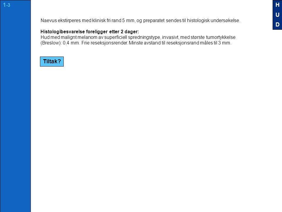 Naevus ekstirperes med klinisk fri rand 5 mm, og preparatet sendes til histologisk undersøkelse.