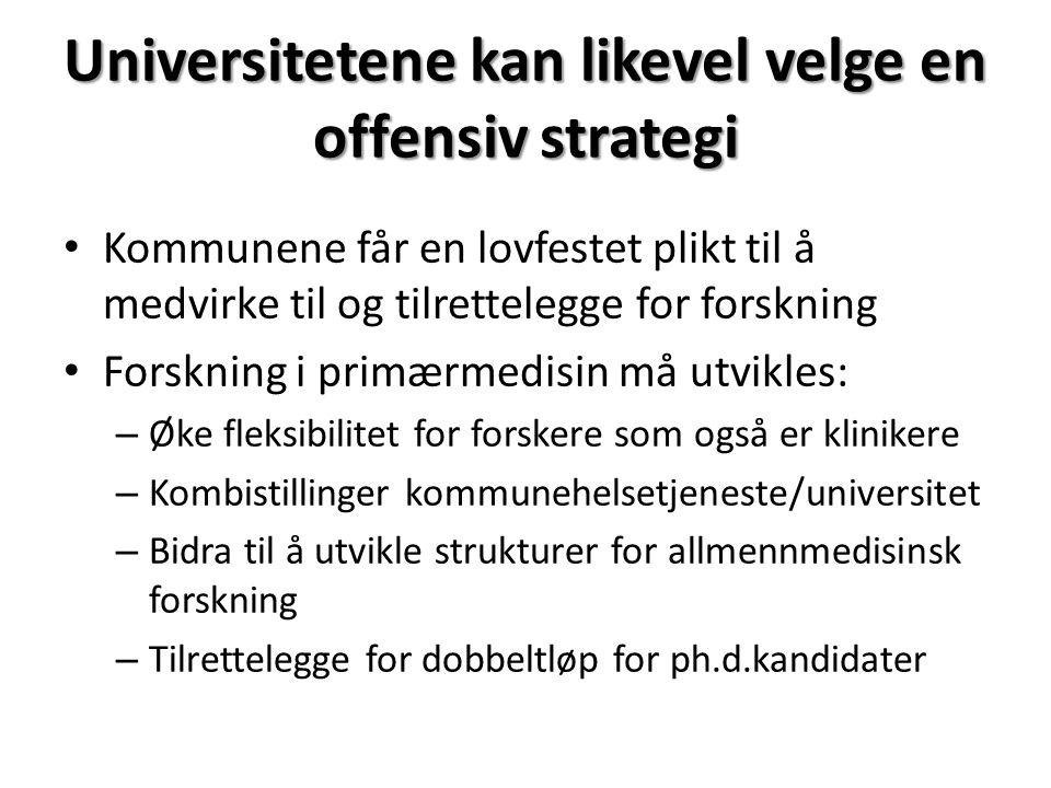 Universitetene kan likevel velge en offensiv strategi Kommunene får en lovfestet plikt til å medvirke til og tilrettelegge for forskning Forskning i p