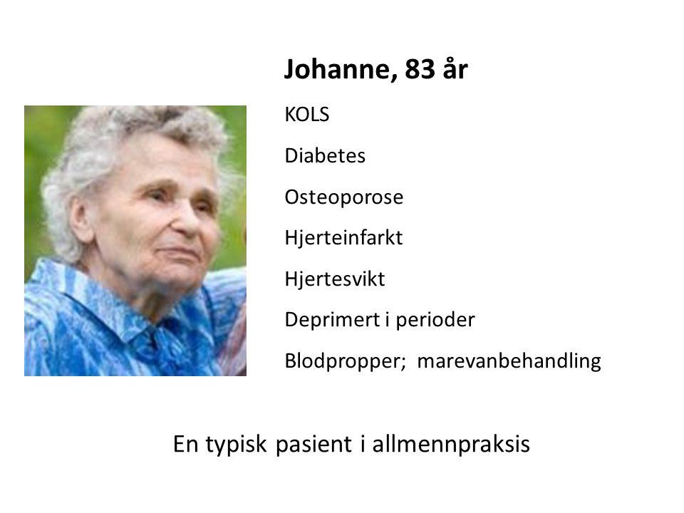 Johanne, 83 år KOLS Diabetes Osteoporose Hjerteinfarkt Hjertesvikt Deprimert i perioder Blodpropper; marevanbehandling En typisk pasient i allmennpraksis