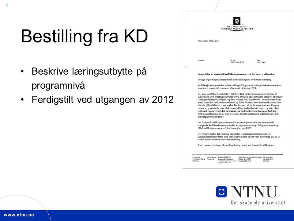 5 Bestilling fra KD Beskrive læringsutbytte på programnivå Ferdigstilt ved utgangen av 2012