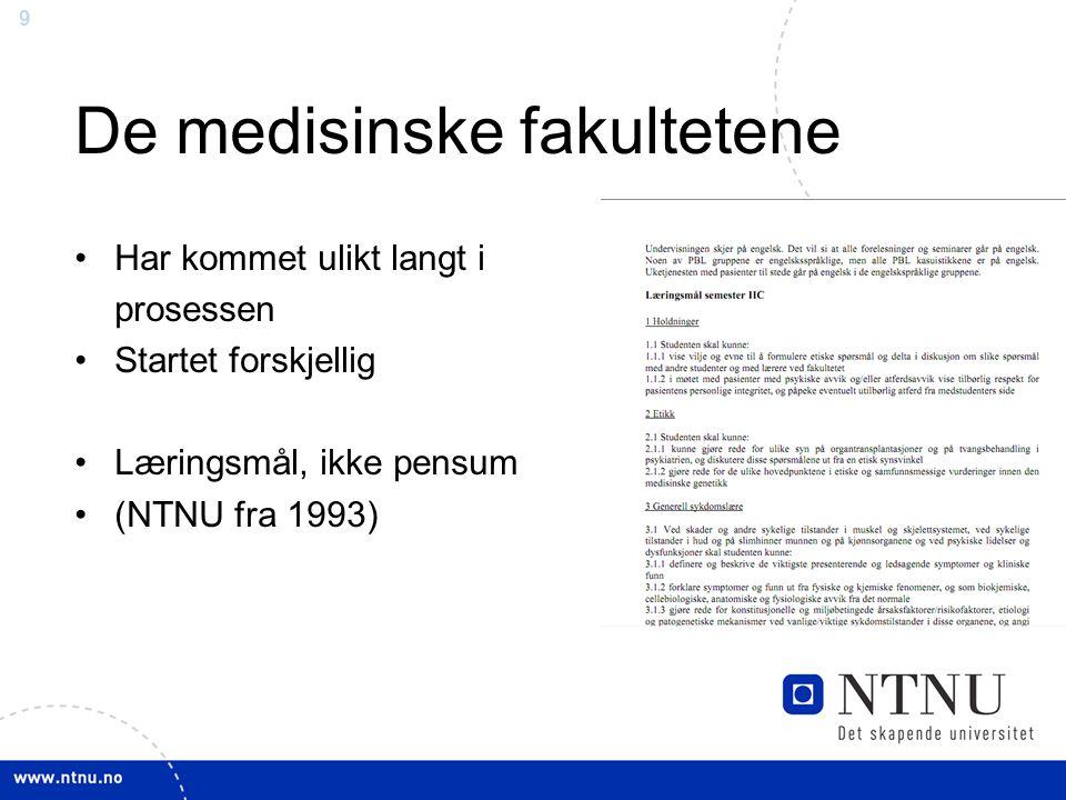 9 De medisinske fakultetene Har kommet ulikt langt i prosessen Startet forskjellig Læringsmål, ikke pensum (NTNU fra 1993)