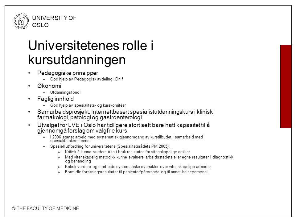 © THE FACULTY OF MEDICINE UNIVERSITY OF OSLO Universitetenes rolle i kursutdanningen Pedagogiske prinsipper –God hjelp av Pedagogisk avdeling i Dnlf Ø