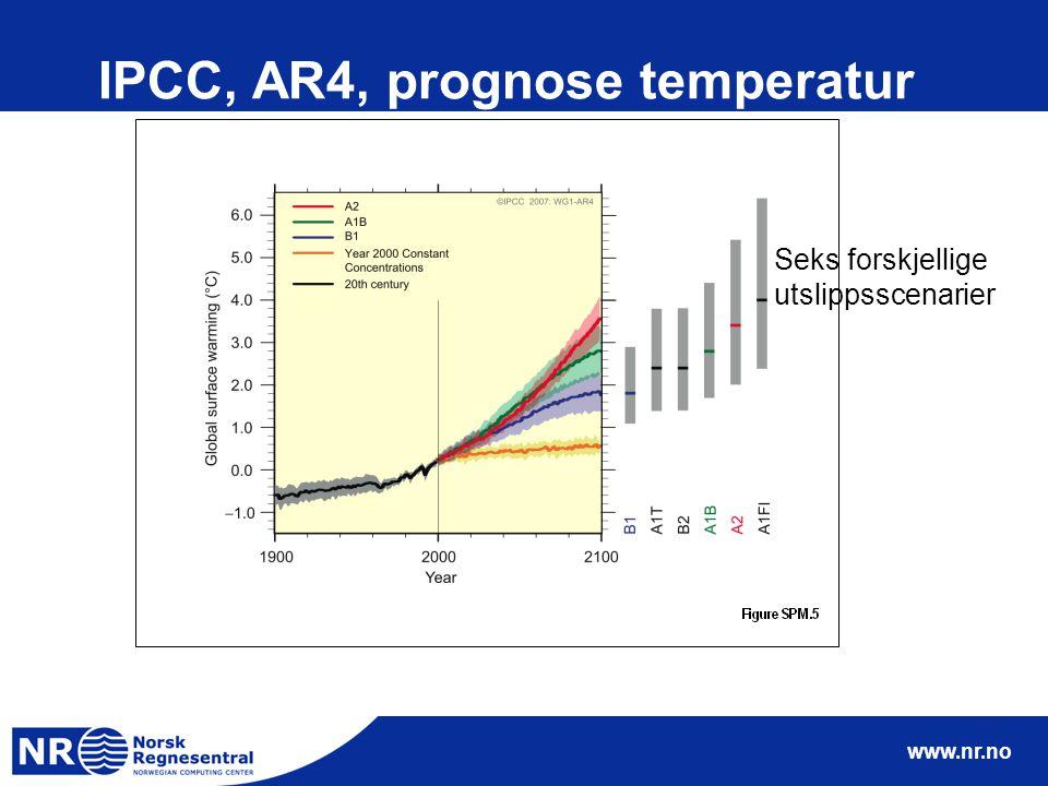 www.nr.no IPCC, AR4, prognose temperatur Seks forskjellige utslippsscenarier
