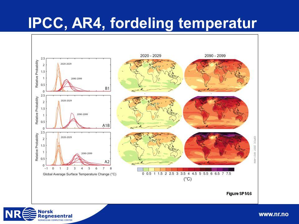 www.nr.no IPCC, AR4, fordeling temperatur