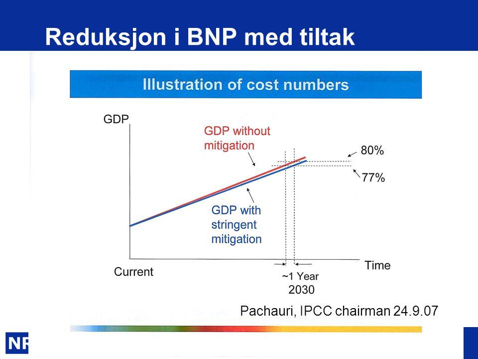 www.nr.no Reduksjon i BNP med tiltak Pachauri, IPCC chairman 24.9.07