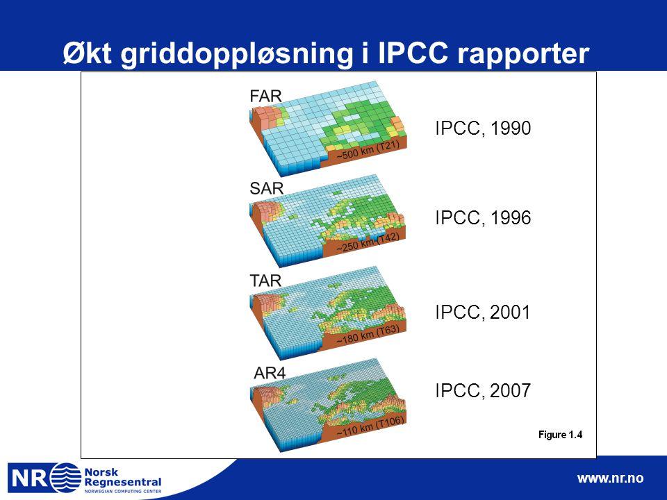 www.nr.no Økt griddoppløsning i IPCC rapporter IPCC, 2007 IPCC, 2001 IPCC, 1996 IPCC, 1990