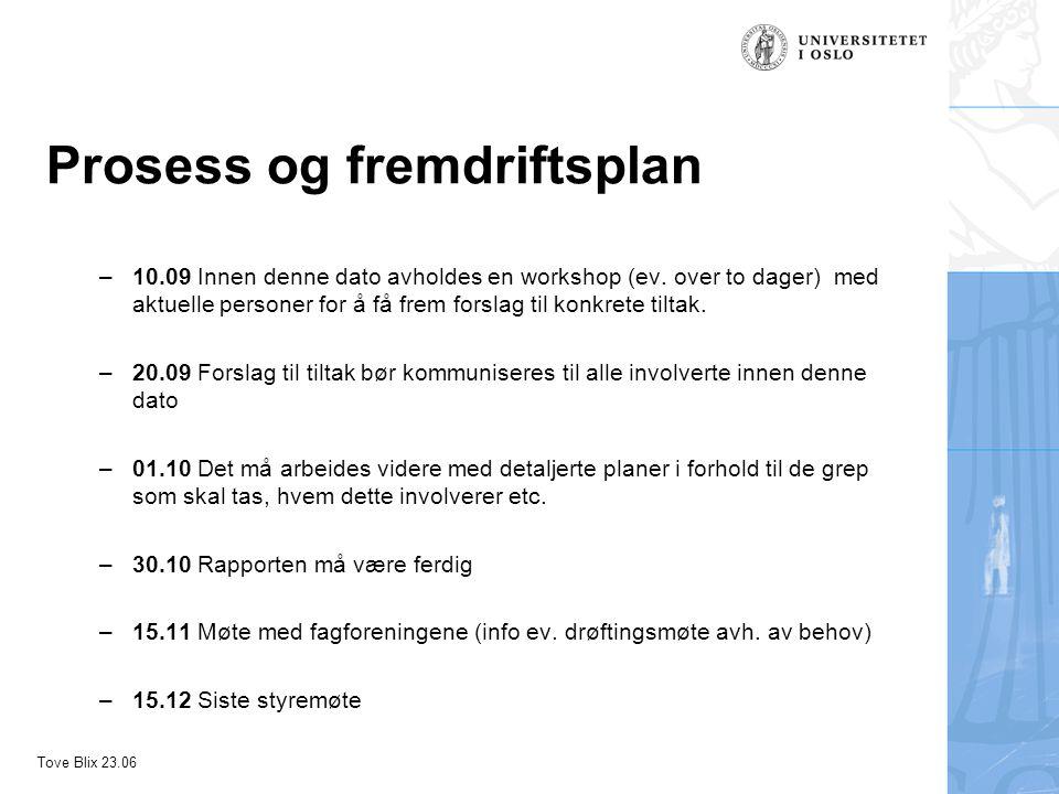 Tove Blix 23.06 Prosess og fremdriftsplan –10.09 Innen denne dato avholdes en workshop (ev.