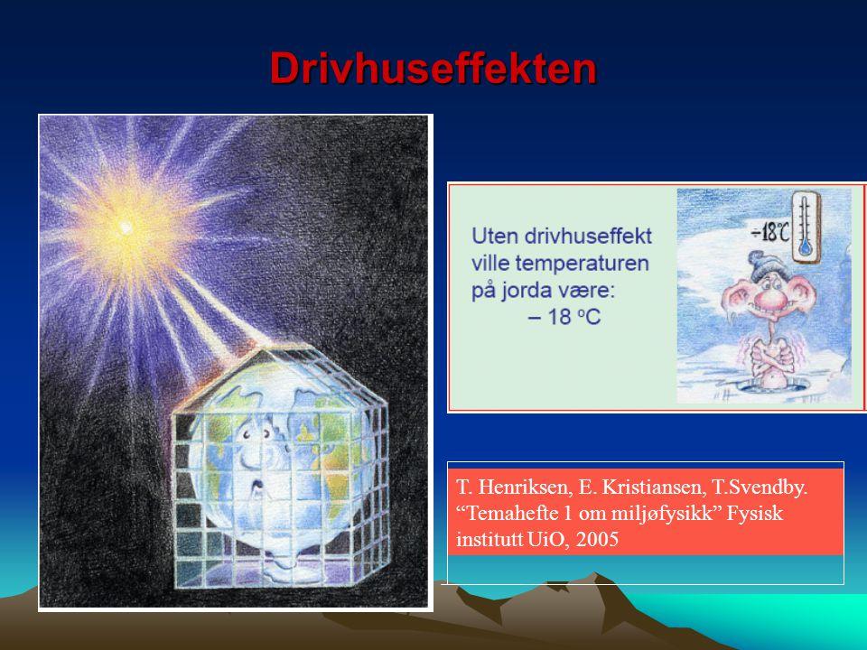 """Drivhuseffekten T. Henriksen, E. Kristiansen, T.Svendby. """"Temahefte 1 om miljøfysikk"""" Fysisk institutt UiO, 2005"""
