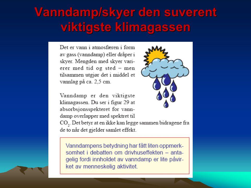 Vanndamp/skyer den suverent viktigste klimagassen