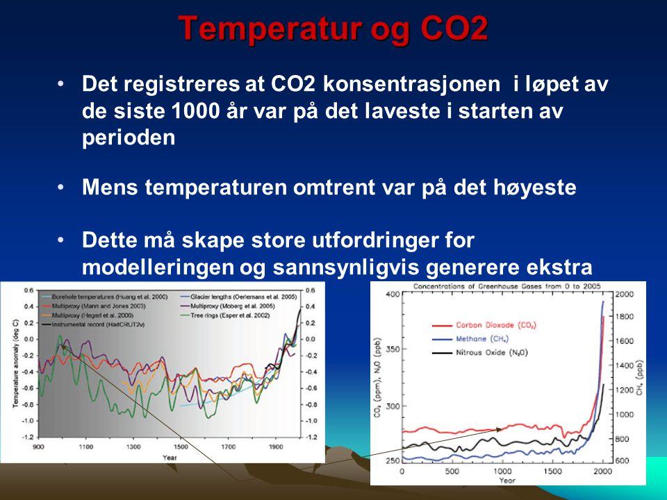 Temperatur og CO2 Det registreres at CO2 konsentrasjonen i løpet av de siste 1000 år var på det laveste i starten av perioden Mens temperaturen omtren