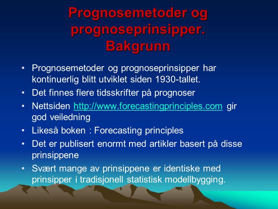 Prognosemetoder og prognoseprinsipper. Bakgrunn Prognosemetoder og prognoseprinsipper har kontinuerlig blitt utviklet siden 1930-tallet. Det finnes fl