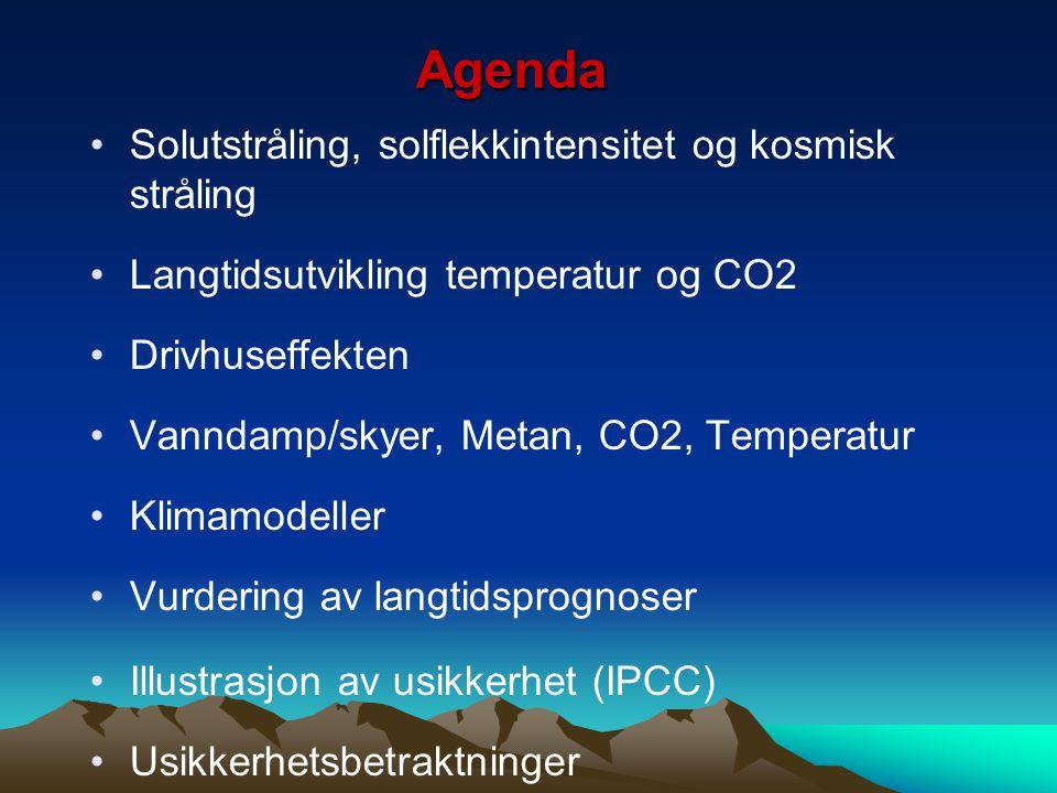 Agenda Solutstråling, solflekkintensitet og kosmisk stråling Langtidsutvikling temperatur og CO2 Drivhuseffekten Vanndamp/skyer, Metan, CO2, Temperatu