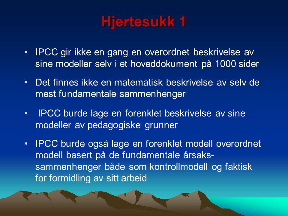Hjertesukk 1 IPCC gir ikke en gang en overordnet beskrivelse av sine modeller selv i et hoveddokument på 1000 sider Det finnes ikke en matematisk besk