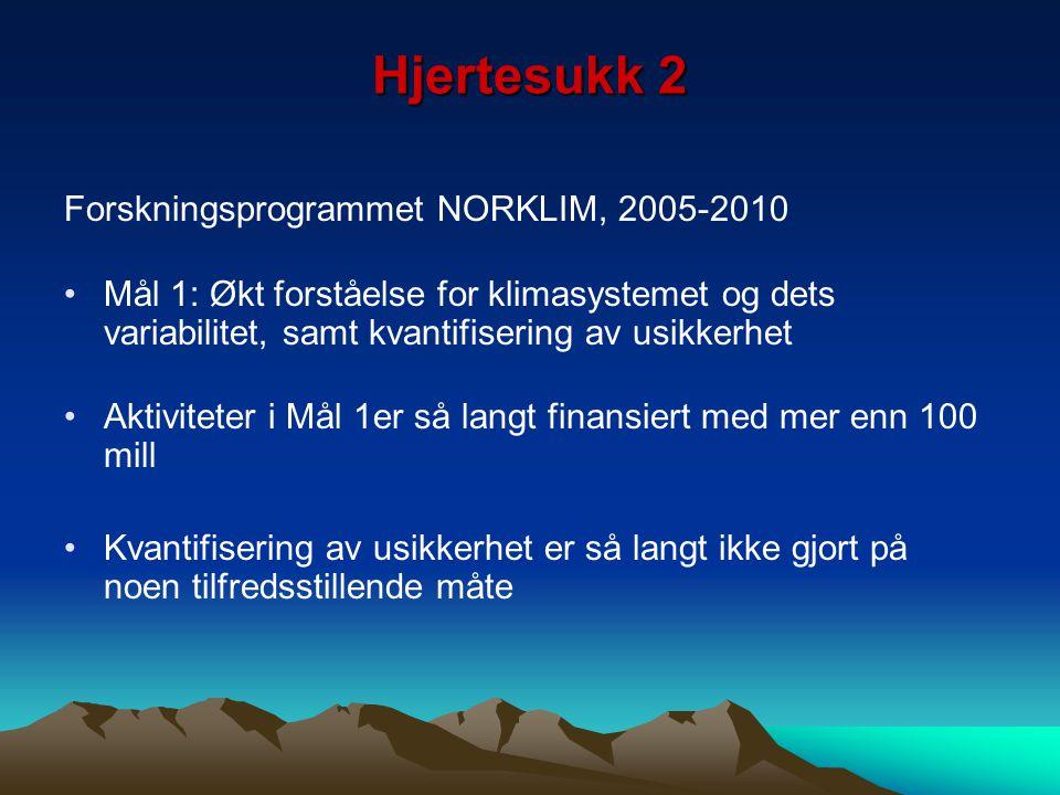 Hjertesukk 2 Forskningsprogrammet NORKLIM, 2005-2010 Mål 1: Økt forståelse for klimasystemet og dets variabilitet, samt kvantifisering av usikkerhet A