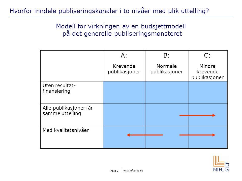 www.nifustep.no Page 4 Publiseringskanaler på to nivåer Nivå 2: 20 % av publikasjonene gis høyere uttelling Nivå 1: 80% av publikasjonene gis normal uttelling Nivå 2 består av utvalgte kanaler som de nasjonale fagråd nominerer etter visse kriterier Kanalene på nivå 2 kan ikke publisere mer enn 20 prosent av publikasjonene i et fagfelt