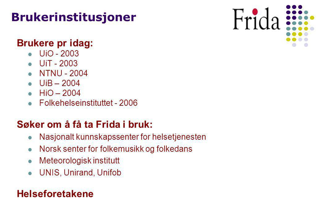 De fire modulene i Frida Forskningsresultater Forskerkatalog Prosjektkatalog Årsrapportering Forsknings- resultater Forsker- katalog Års- rapportering Prosjekt- katalog