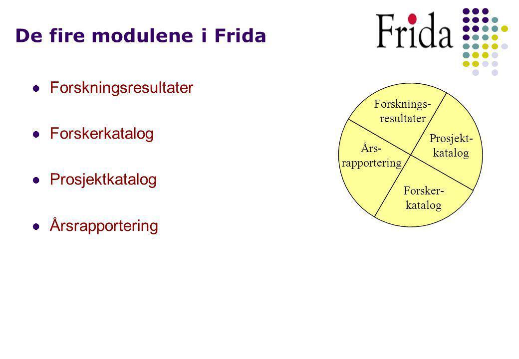 Organisering og finansiering Frida bygger fortsatt på atskilte databaser for de enkelte institusjoner.