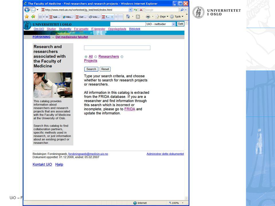 UiO – Forskningsadministrativ avdeling - 2007