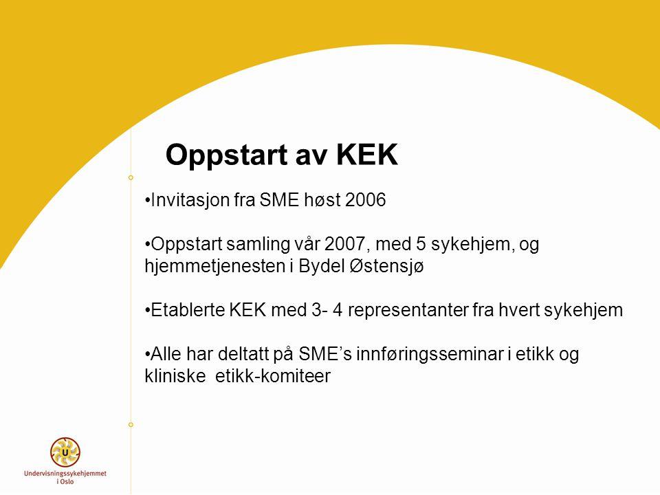 Oppstart av KEK Invitasjon fra SME høst 2006 Oppstart samling vår 2007, med 5 sykehjem, og hjemmetjenesten i Bydel Østensjø Etablerte KEK med 3- 4 rep