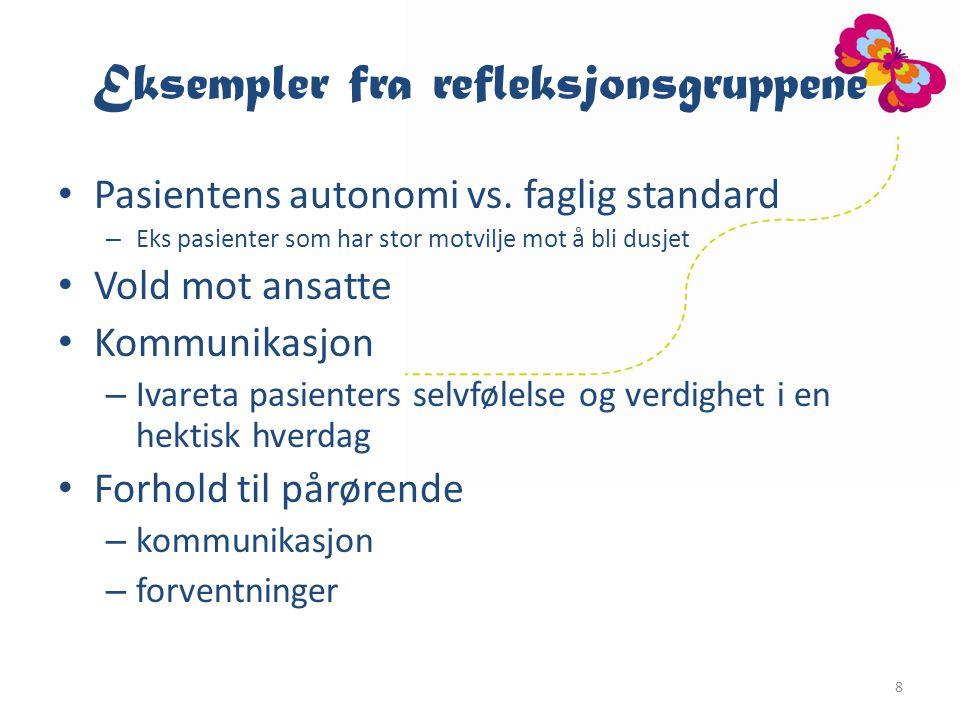 Eksempler fra refleksjonsgruppene Pasientens autonomi vs.