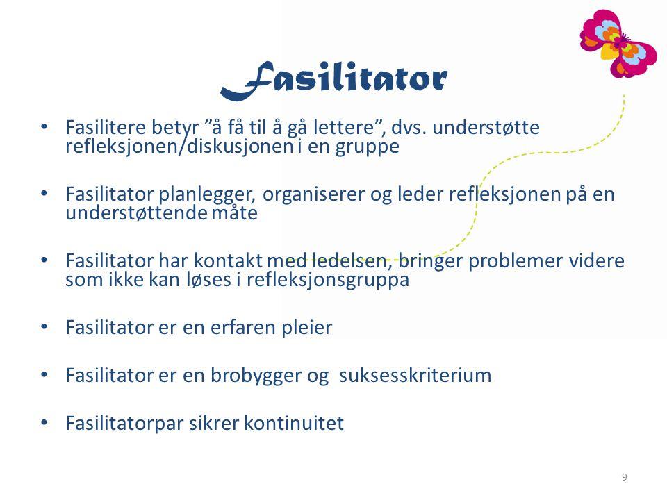 9 Fasilitator Fasilitere betyr å få til å gå lettere , dvs.