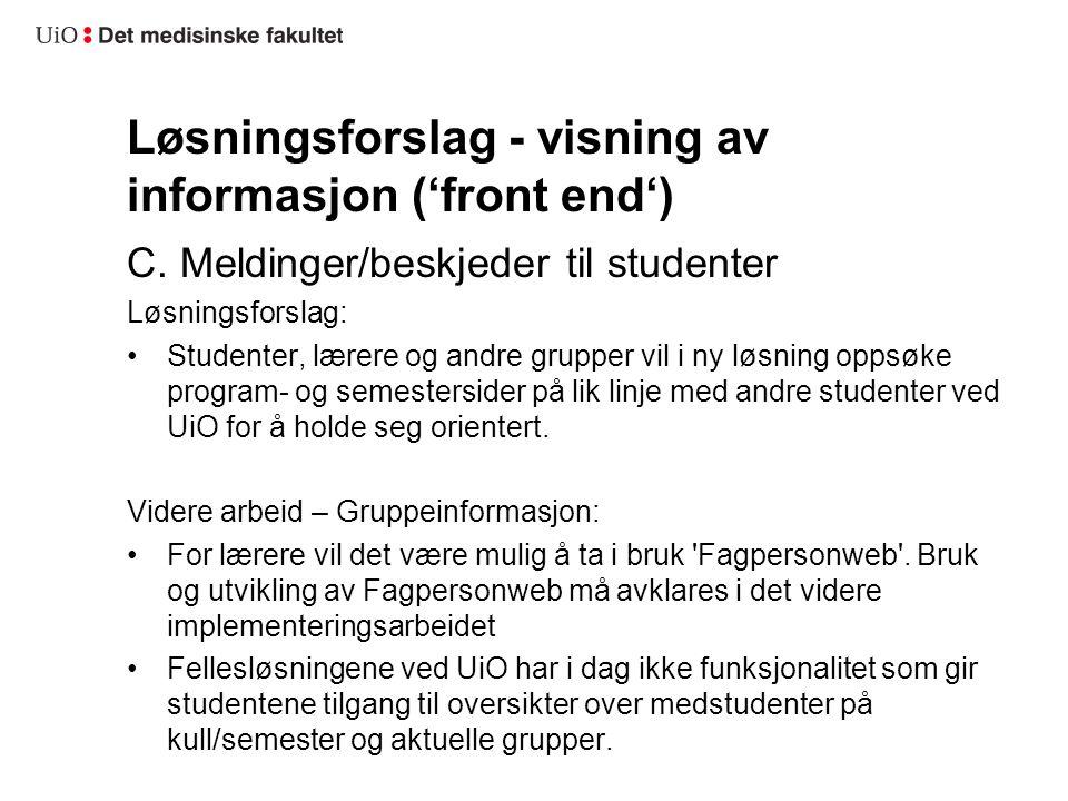 Løsningsforslag - visning av informasjon ('front end') C. Meldinger/beskjeder til studenter Løsningsforslag: Studenter, lærere og andre grupper vil i