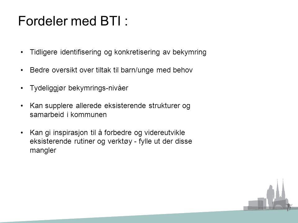 Fordeler med BTI : Tidligere identifisering og konkretisering av bekymring Bedre oversikt over tiltak til barn/unge med behov Tydeliggjør bekymrings-n