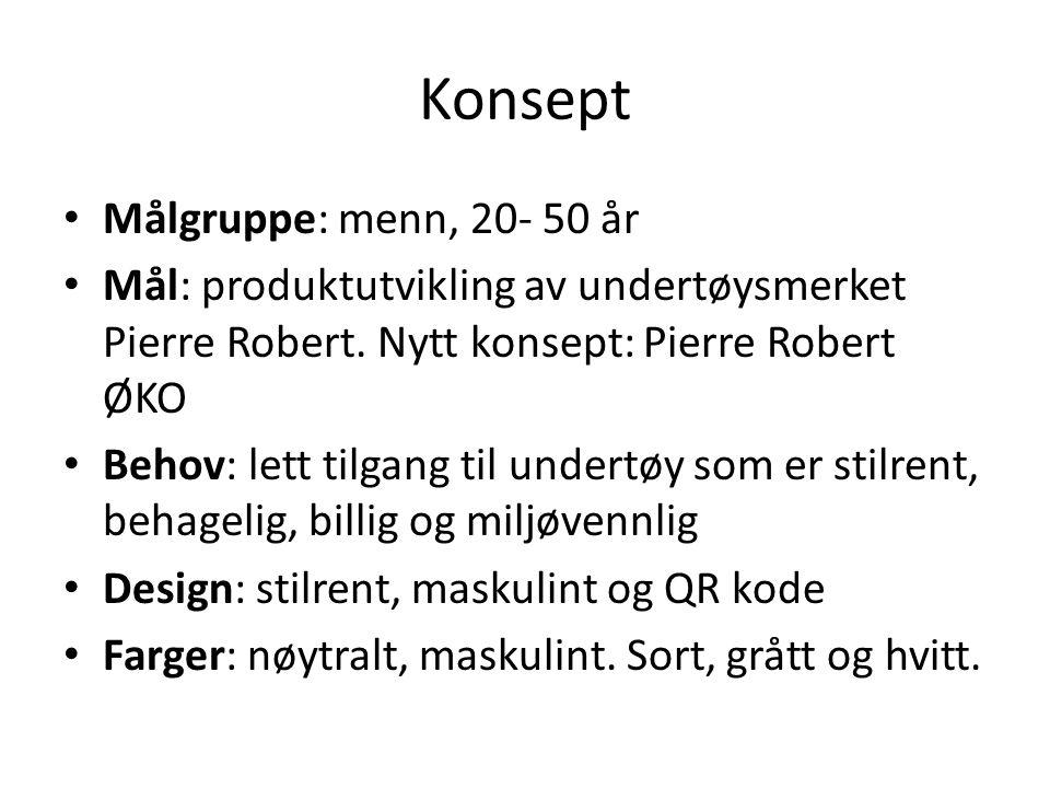 Konsept Målgruppe: menn, 20- 50 år Mål: produktutvikling av undertøysmerket Pierre Robert.