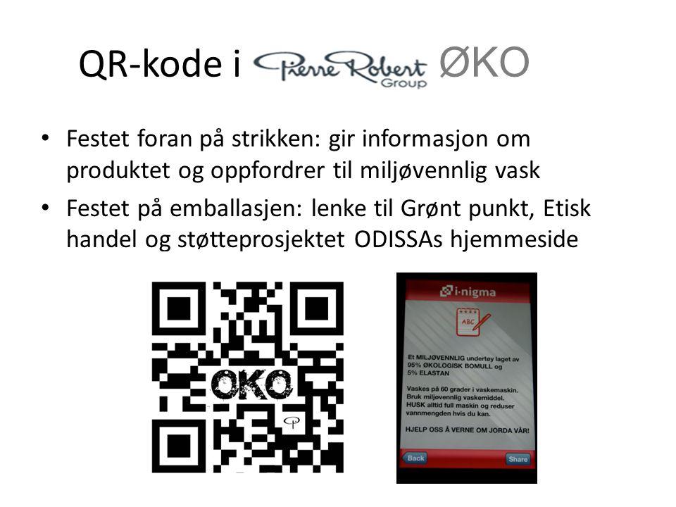 QR-kode i ØKO Festet foran på strikken: gir informasjon om produktet og oppfordrer til miljøvennlig vask Festet på emballasjen: lenke til Grønt punkt,