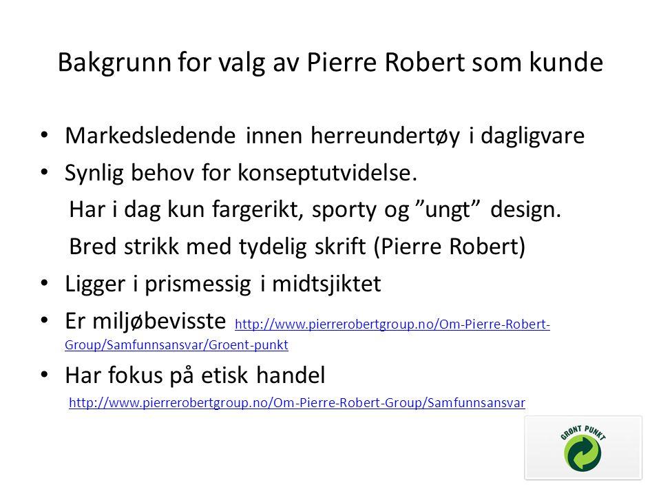 Bakgrunn for valg av Pierre Robert som kunde Markedsledende innen herreundertøy i dagligvare Synlig behov for konseptutvidelse. Har i dag kun fargerik