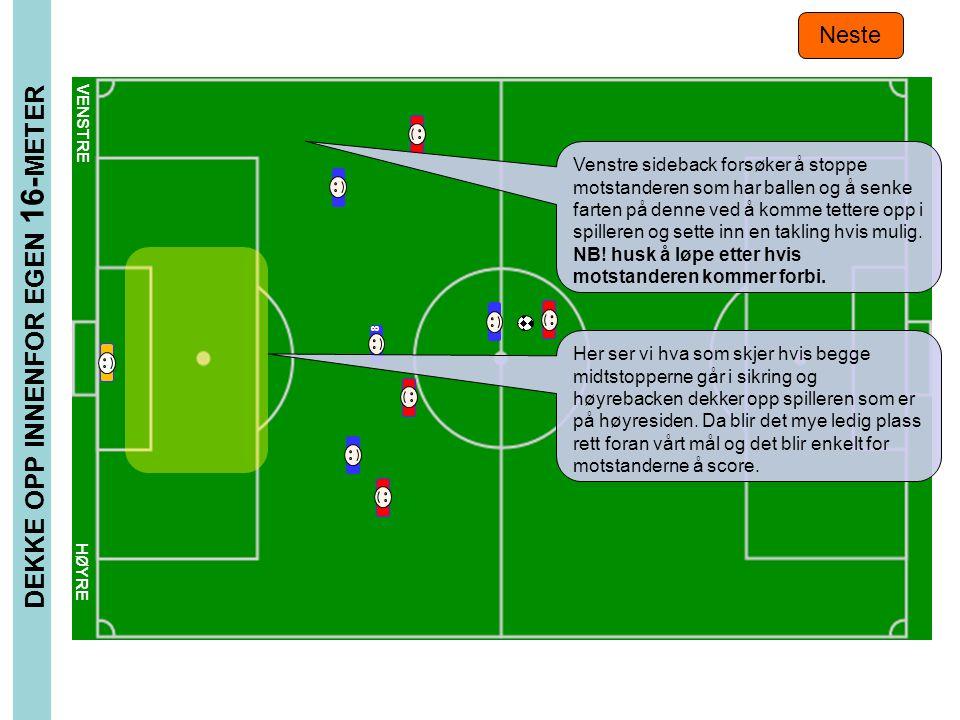 DEKKE OPP INNENFOR EGEN 16- METER Neste 8 VENSTRE HØYRE Venstre sideback forsøker å stoppe motstanderen som har ballen og å senke farten på denne ved